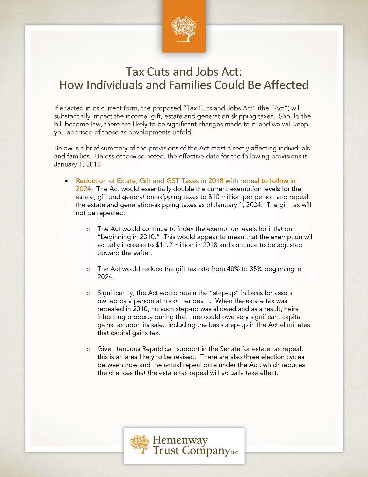 Individuals and Families Tax Cuts and Jobs Act